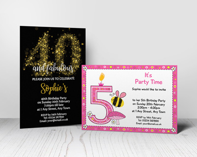 numbered party invitations