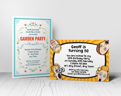 personalised party invitations putty print