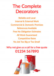 orange and red paint tins leaflets