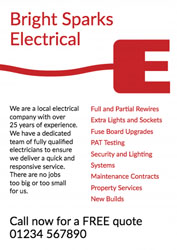 E for electrician leaflets