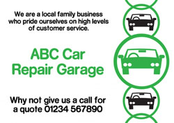 green circles car repair flyers
