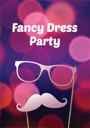 purple fancy dress party invitations