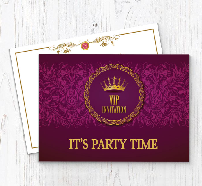 Purple Vip Party Invitations Customise Online Plus Free Envelopes