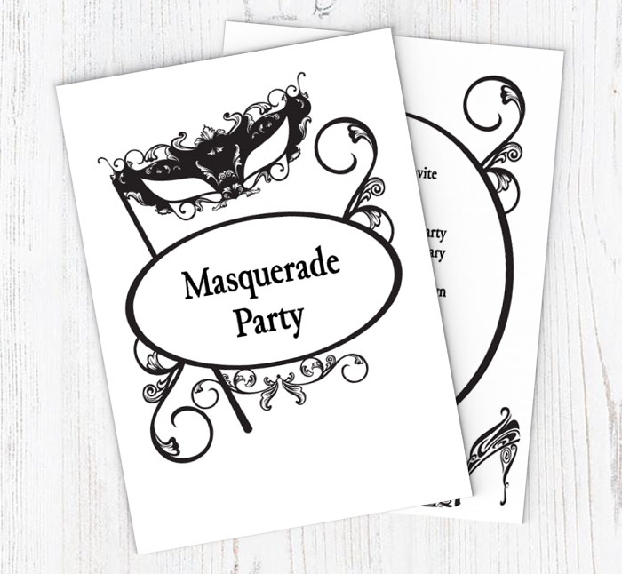 black masquerade mask party invitations customise online plus free