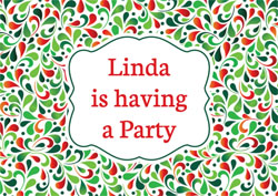 red and green drops party invitations