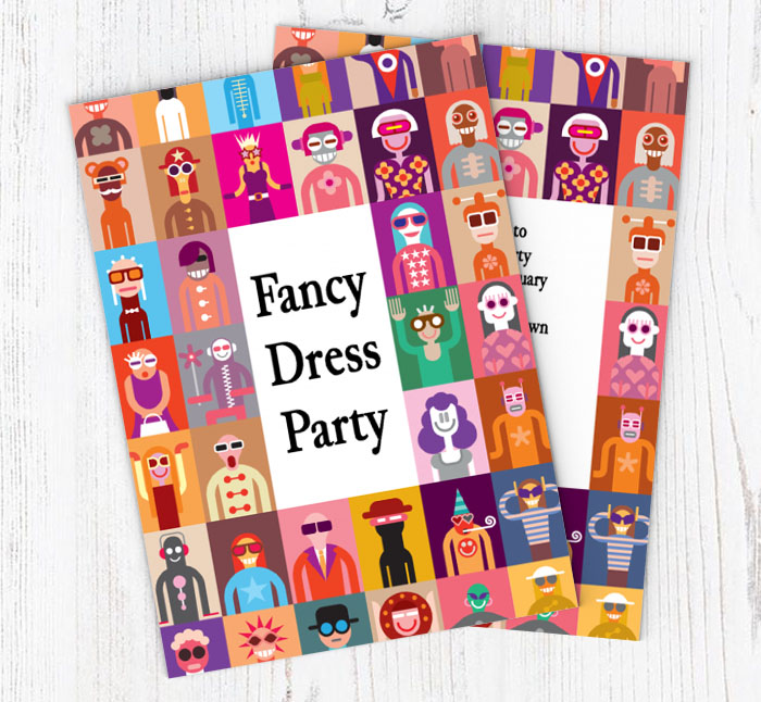 fancy dress party invitations customise online plus free envelopes