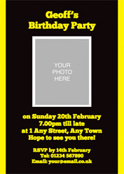 black and yellow photo invitations