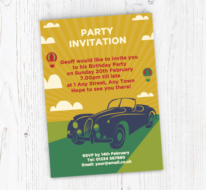 Classic Car Party Invitations Customise Online Plus Free Envelopes - Classic car invitations