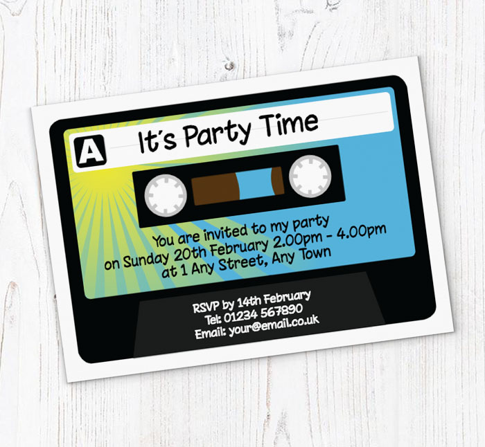 Cassette Tape Party Invitations Customise Online Plus Free