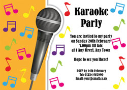 Mic stand karaoke party invitations customise online plus free sing along party invitations stopboris Image collections
