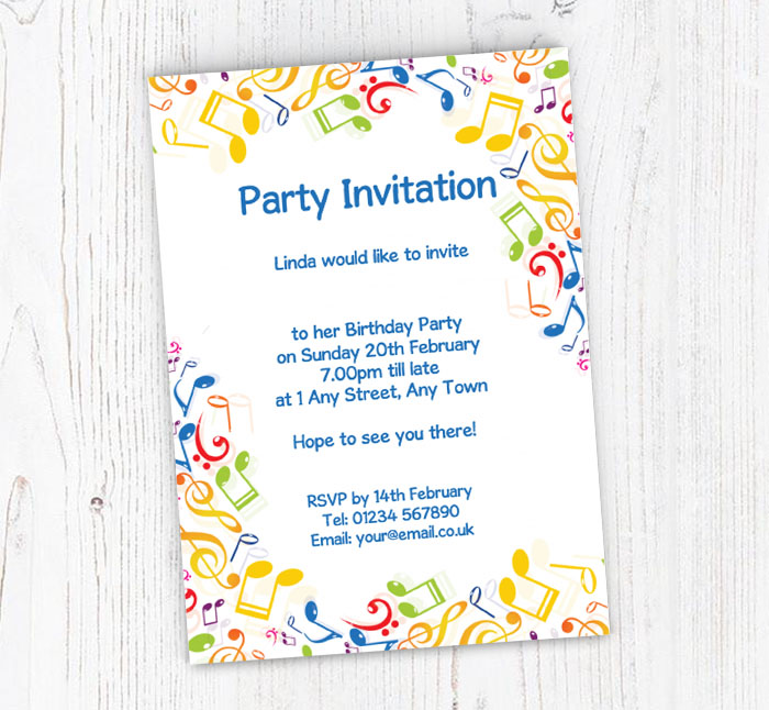 Colourful Musical Notes Party Invitations