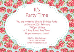 vintage red roses party invitations