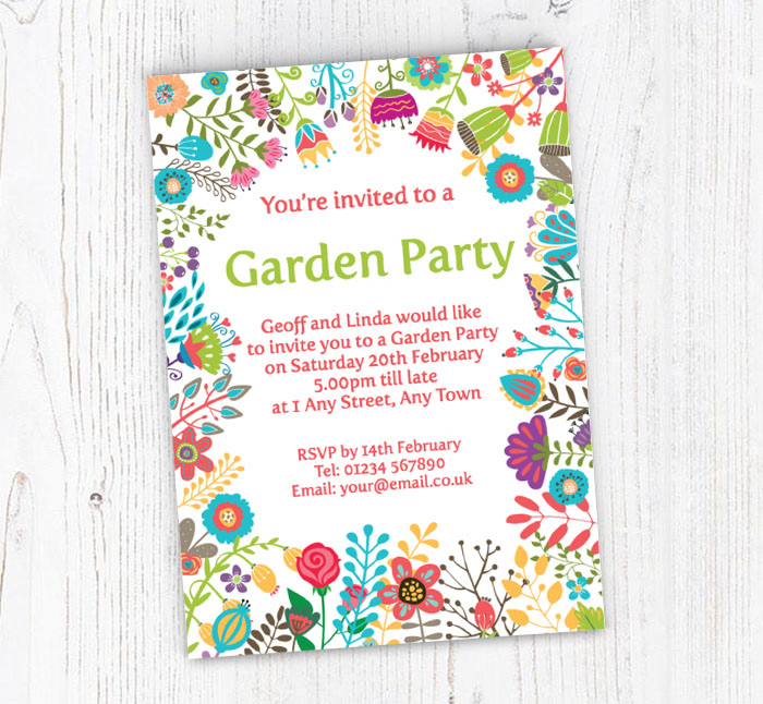 colourful garden party invitations customise online plus free