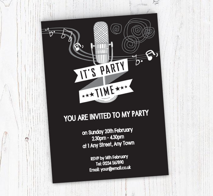 50s Microphone Invitations