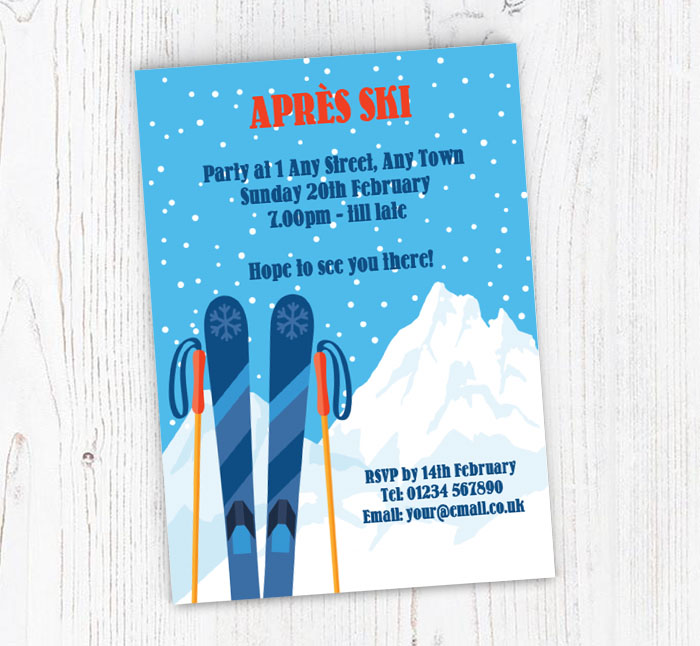 Apres Ski Party Invitations Customise Online Plus Free Envelopes