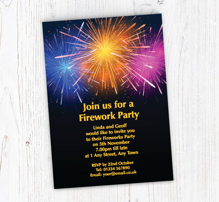 fireworks in the sky party invitations customise online plus free