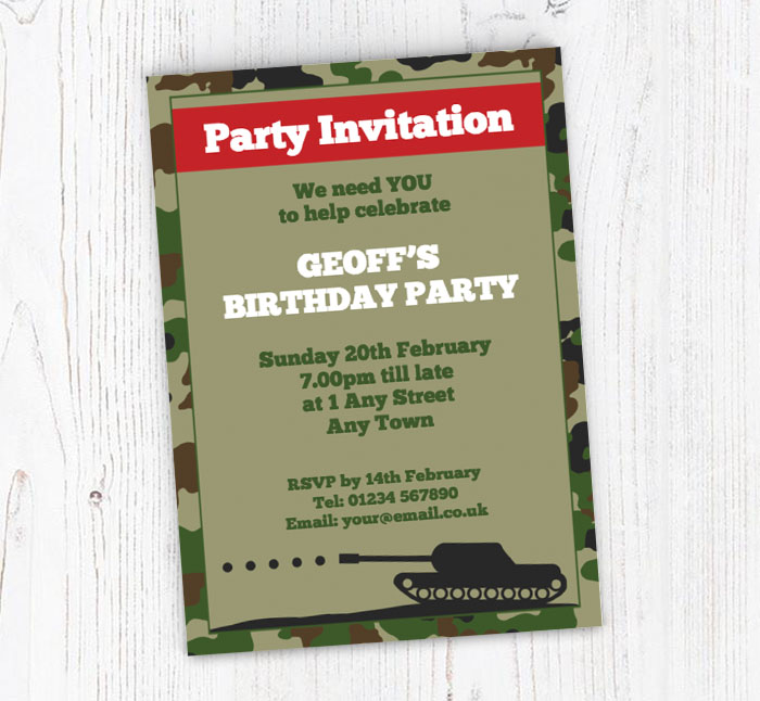 Army tank party invitations customise online plus free envelopes army tank party invitations stopboris Images