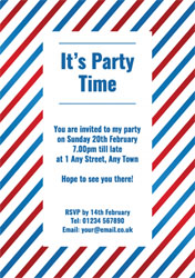 blue and red striped party invitations