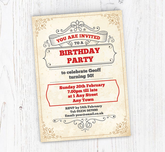 vintage party scroll party invitations customise online plus free
