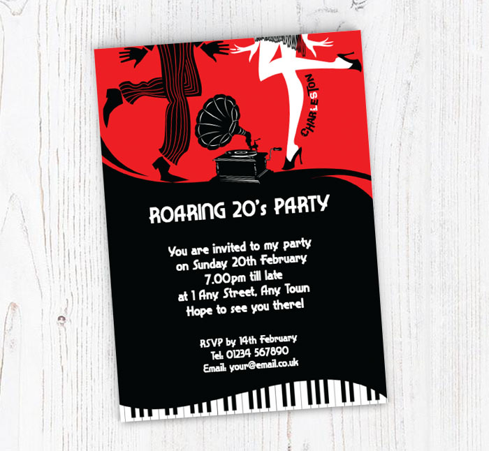 1920 S Party Invitations Customise Online Plus Free Envelopes And