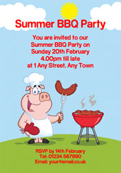 pig barbecuing party invitations
