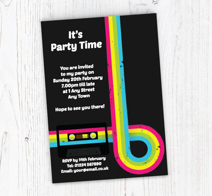 80s Party Invitations Customise Online Plus Free Envelopes and