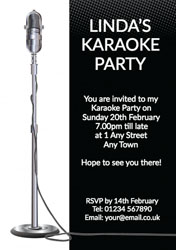 Karaoke party invitations customise online plus free envelopes and mic stand karaoke party invitations stopboris Image collections