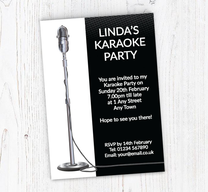 Mic stand karaoke party invitations customise online plus free mic stand karaoke party invitations stopboris Choice Image