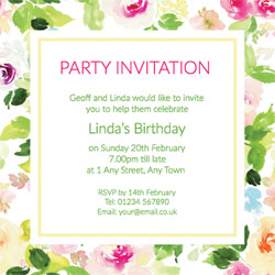 summer roses party invitations