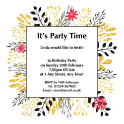 golden leaves party invitations