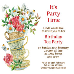 watercolour tea cups party invitations