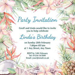 tropical watercolour party invitations