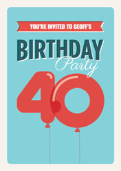 40th balloons party invitations