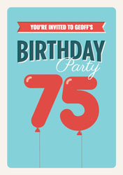 75th Balloons Party Invitations