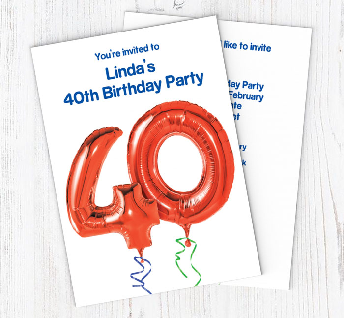 40th Red Balloon Party Invitations
