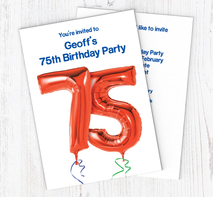 75th Red Balloon Party Invitations