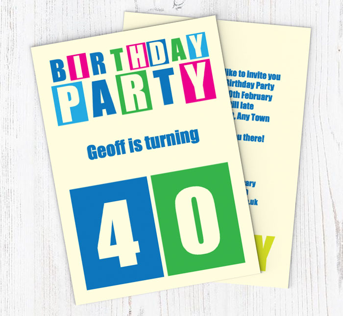 Cut Out 40th Birthday Party Invitations