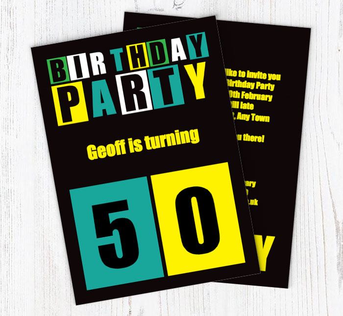 Cut Out 50th Birthday Party Invitations