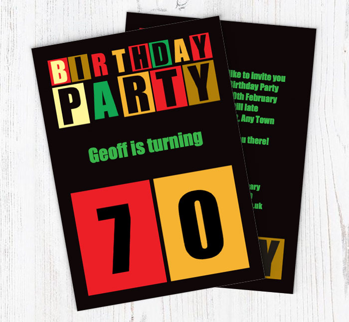 Cut Out 70th Birthday Party Invitations