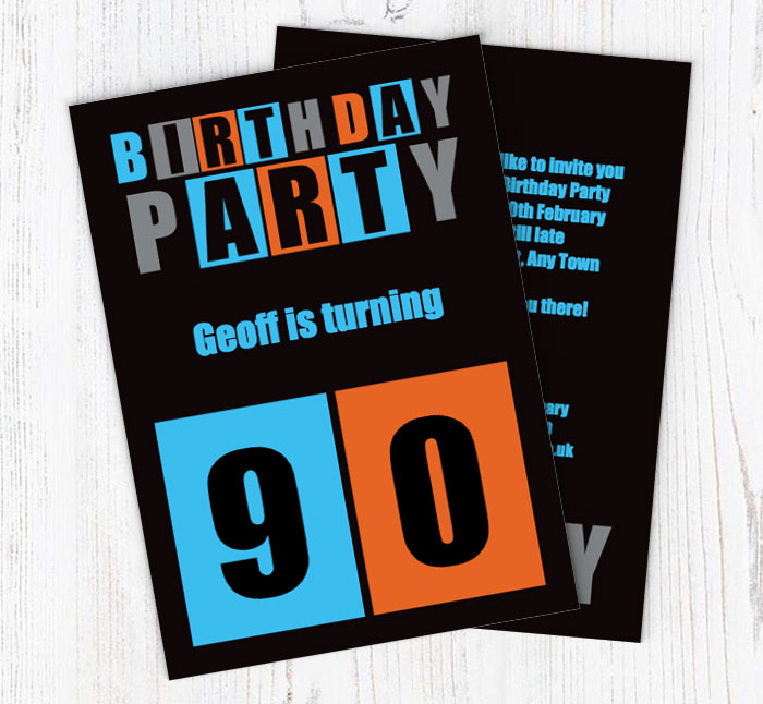 Cut Out 90th Birthday Party Invitations