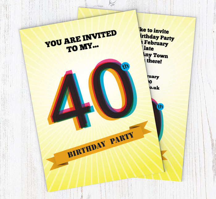 Retro 40th Birthday Party Invitations