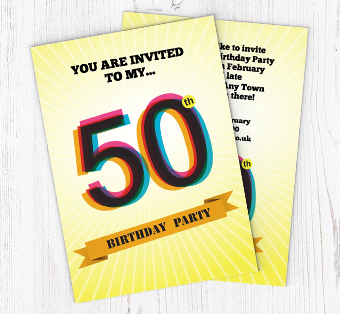 Retro 50th Birthday Party Invitations