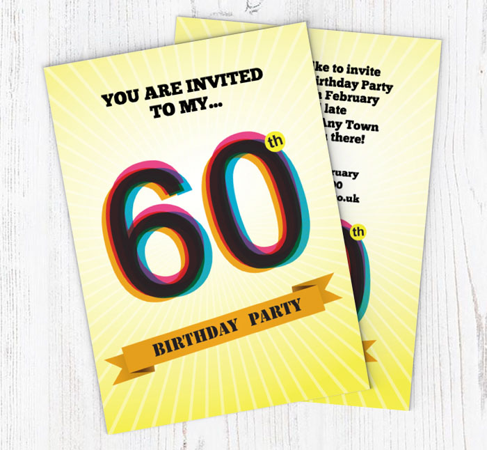 Retro 60th Birthday Party Invitations