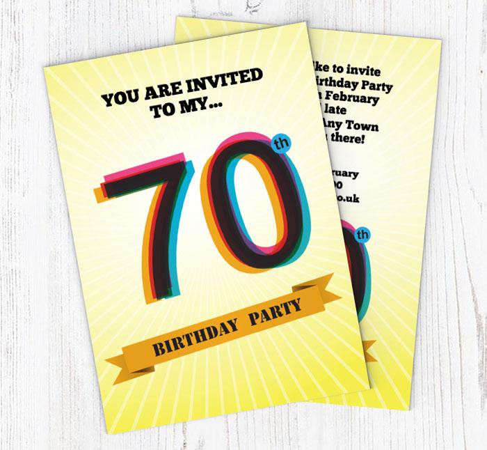 Retro 70th Birthday Party Invitations