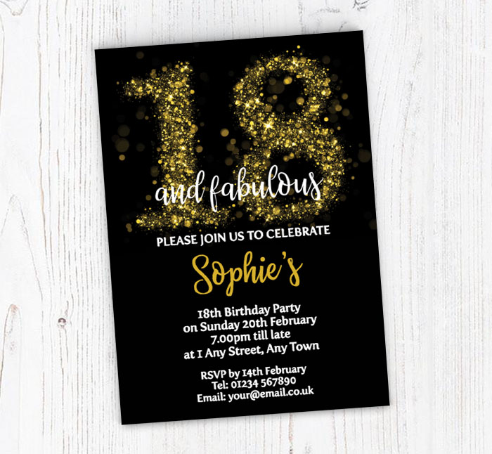 Sparkly 18th Birthday Party Invitations