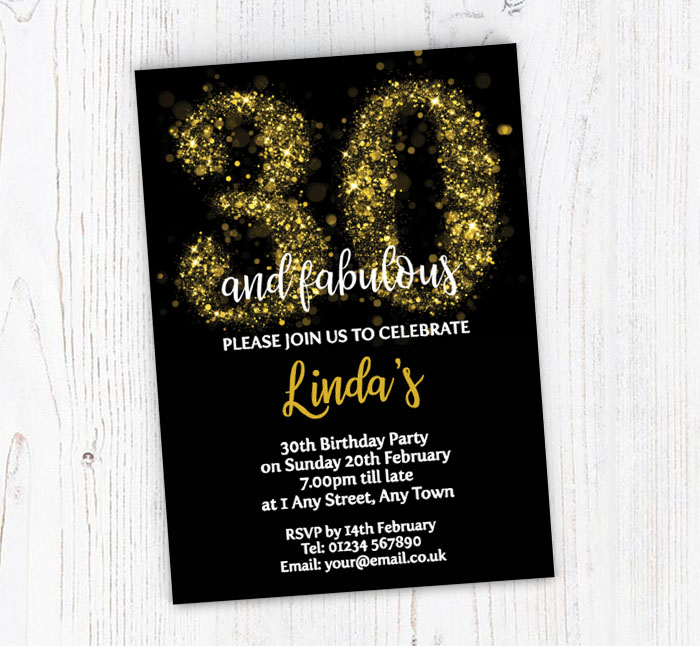 Sparkly 30th Birthday Party Invitations