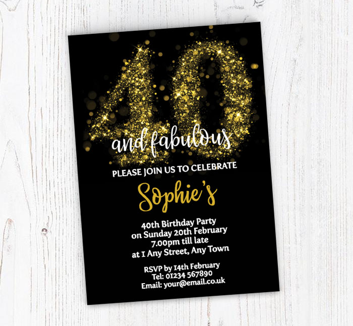 Sparkly 40th Birthday Party Invitations
