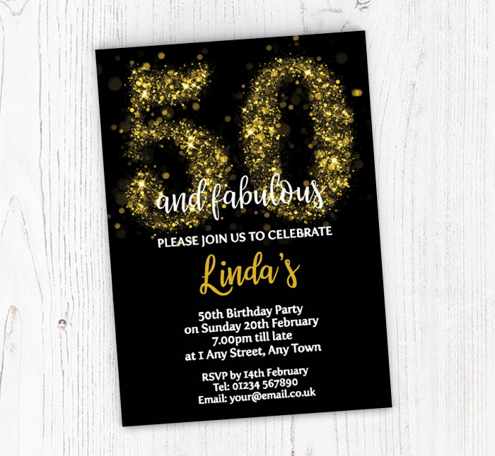 Sparkly 50th Birthday Party Invitations