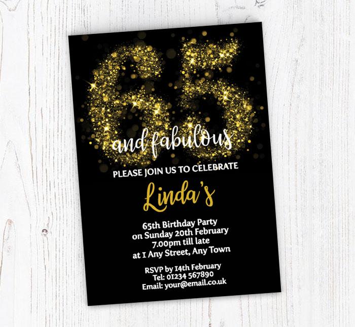 Sparkly 65th Birthday Party Invitations