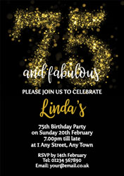 75th birthday party invitations customise online plus free sparkly 75th birthday party invitations filmwisefo
